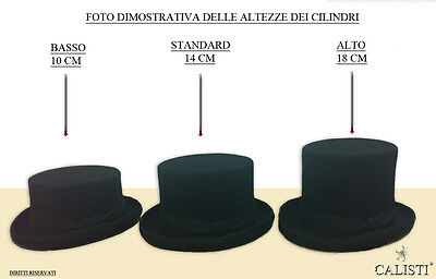 CAPPELLO A CILINDRO TUBA FELTRO NERO TOP HAT MADE IN ITALY 18 Cm. alto