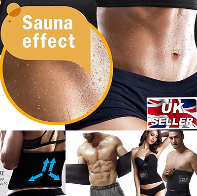 UK Men Ladies Flat Abs Tummy Reducer Trimmer Abdominal Gym Waist Slimming Belt