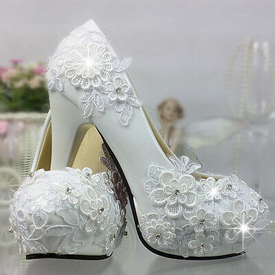 """3"""" 4 """" heel white ivory lace crystal pearls Wedding shoes pumps bride size"""