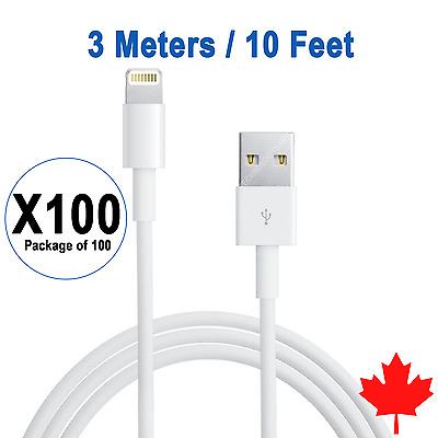 100x 10FT 3M 8 Pin USB Data Sync Charger Cable for iPhone 7 7Plus 6 6S 5 SE 5S