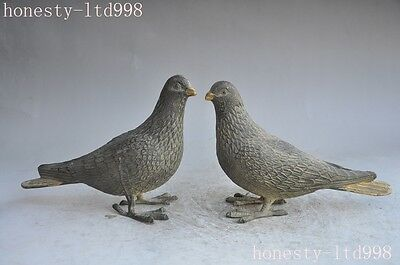 """8""""Chinese Fengshui Bronze gilt Bird Pigeon Dove of peace auspicious lucky Statue"""