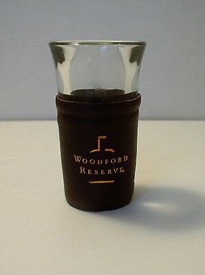 """WOODFORD RESERVE BOURBON Whiskey Leather Wrapped 3"""" SHOT GLASS Bar Kentucky"""