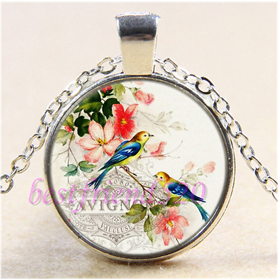 Romantic French Birds Cabochon Glass Tibet Silver Chain Pendant Necklace