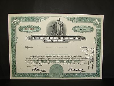 1965 United States Banknote Corporation Bache & Co Inc Stock Certificate Vintage
