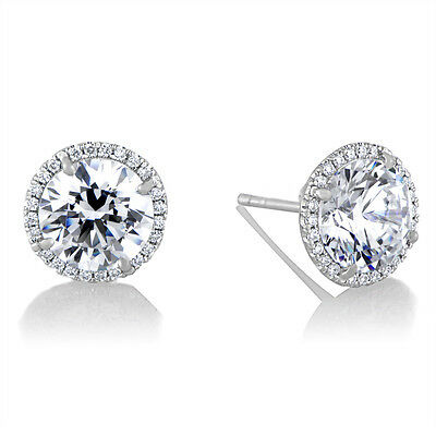 14K White Gold Lab Diamond Solitaire Round Brilliant Halo Pave Stud Earrings