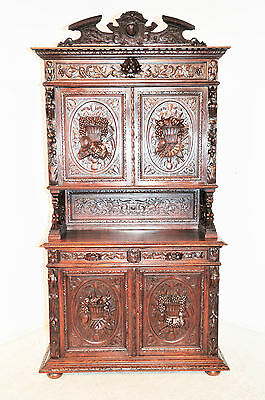 Antique French Hunt Cabinet, Highest Quality Carvings, 19th Century