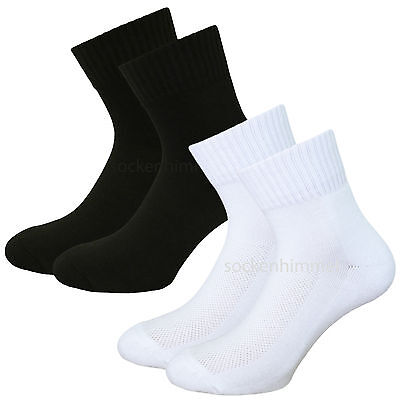 Mens Crew Socks 6 pc mid. weight sports socks Quarter cushion socks black white