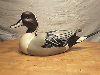 Large Ducks Unlimited Carved Wooden Duck, Drake Pintail Decoy, By John Gewerth