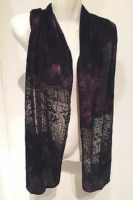 "Purple Boho Burn-Out Velvet 68"" Long Scarf 12.5"" Wide Shawl"