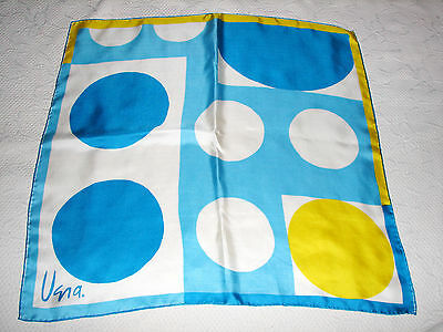 "Vintage Vera Turquoise Yellow & White Geometric Silk Scarf 27"" Square Japan"