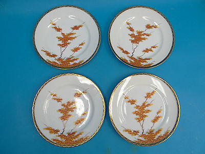 Signed Chinese Fine Porcelain Gold Color Red Tree Appetizer Small Serving Plates