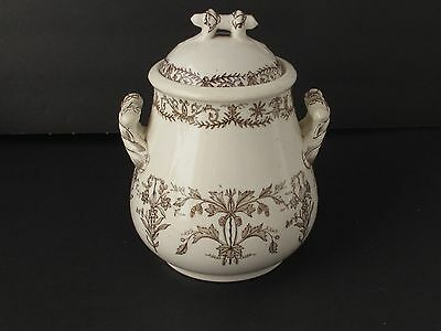 Antique  Brown T & R Boote Transferware  Sugar Bowl