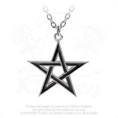 Alchemy Gothic Pendant BLACK STAR Pentagram Necklace P775