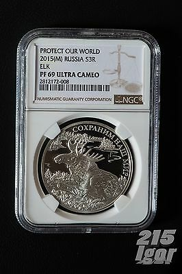 2015 Russia, 1 Oz Silver, 3 Rouble, Proof, Elk, NGC PF 69 Ultra Cameo