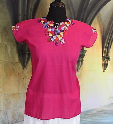 Red & Multi-Color Hand Embroidered Mayan Huipil Chiapas Mexico Hippie Boho Chic