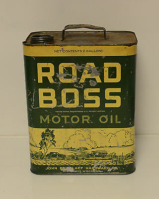 Vintage Oil Can Road Boss Motor Oil 2 Gallon RARE!!