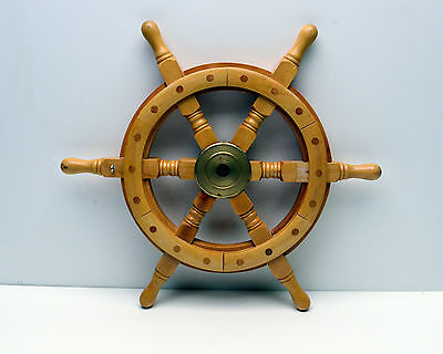 Ships Wheel Nautical Maritime Decorator piece Captain Pirate Wood & Brass