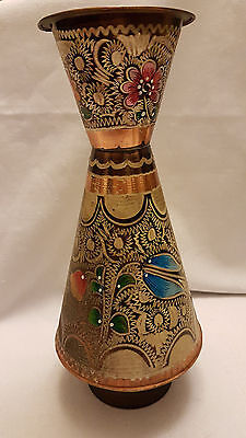 """Vintage, Unique, Engraved and Hand painted Copper vase 10,5"""" tall"""
