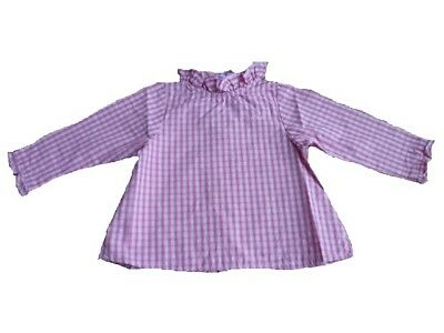 RIVER WOODS Children's Girl's Blouse rosa checked Size 9M 12M 18M 24M 3A 4A 5A