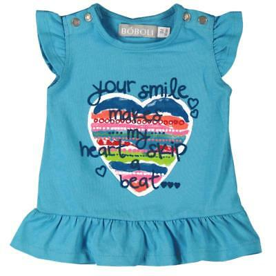 Bóboli girls T-Shirt Heart blue turquoise sz. 74 - 92
