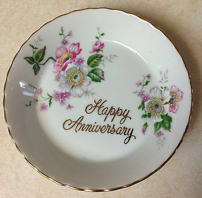 Saji Fine China from Japan - Dessert Bowl/Plate - Happy Anniversary