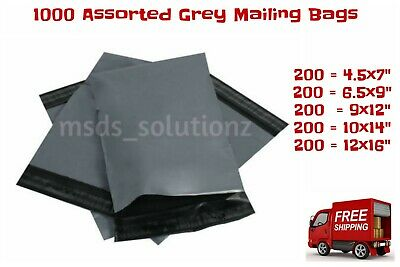 1000 Assorted Grey Mailing Bags Postal Packaging Plastic 5 Mixed Sizes Mailers