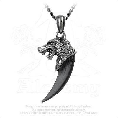 Alchemy Gothic Pendant WOLF MACHT Wolf Fang Tooth Necklace P788