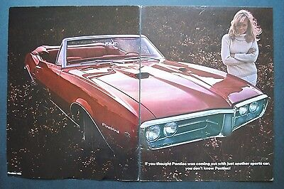 Vintage 1967 Original Print Ad PONTIAC FIREBIRD 400 Convertible Car ~ 2 Pages