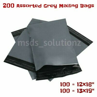 """200 Assorted Grey Mailing Bags Polythene Plastic Packaing 100=12x16""""+100=13x19"""""""