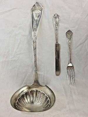 Schulz and Fischer Sterling Silver Cleopatra, Circa 1870 Ladle and Child's Set