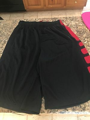 Youth Boys NIKE ELITE Black Shorts * Dri-Fit * Size XL * Black & Red