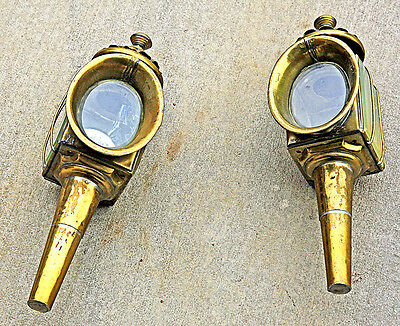 Vintage Brass Side Lamps for Auto or Carriage (Pair).