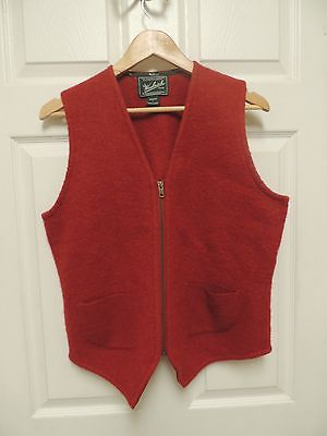 Women's Woolrich Red Zipper Thin Felted 100% Wool Vest Pockets Large