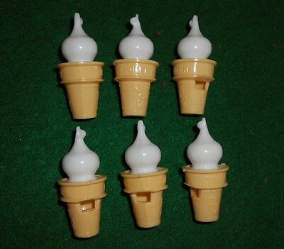 Lot of 6 Vintage DAIRY QUEEN Plastic WHISTLES ice cream cone advertising premium