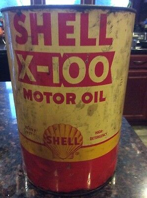Vintage Shell X-100 Motor Oil 5 Quart Tin Can