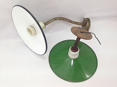 Set of 2 Antique Outdoor Light Fixture Green Enamel Lamp Shade Porcelain Socket