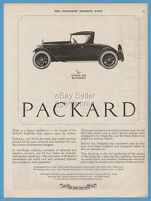 1922 Packard Single Six Runabout Model antique open motor car automobile ad