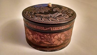 Antique Turned Wooden Carved Trinket Box with Lid Made In Mexico