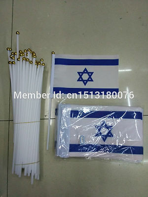 Set of 100 Handheld Israel Flags Israel hand wave flags polyester 14 * 21cm