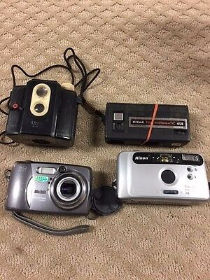 "Vintage Camera Lot Of 4 Camera's-Kodak-Nikon- Ansco-All ""as Is"" Not Tested-71"