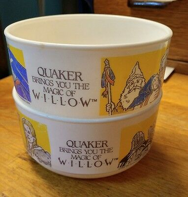 2 VINTAGE 1988 WILLOW Movie Plastic Cereal Bowl Quaker Brings You The Magic Of