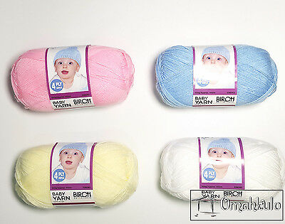 BIRCH - Knitting Wool Baby Yarn 4 Ply Acrylic 100g - Any Colour - Postage Capped