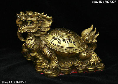 Chinese Fengshui Bronze Brass lucky Wealth Yuanbao Dragon tortoise Turtle Statue
