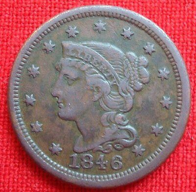 1846 LARGE CENT~Braided Hair~Small Date~Very Fine Details