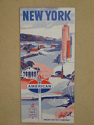 American Oil Co. New York 1963 Gas Station Road Map