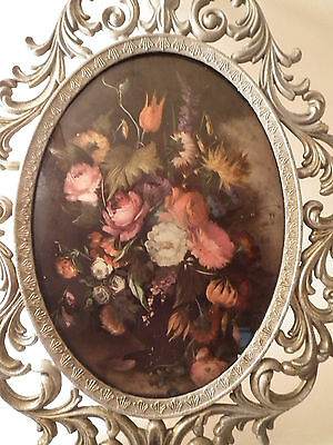 """Convex Glass Oval Picture Frame w Floral Ornate Filigree Metal 13 1/2 x 10 1/4"""""""