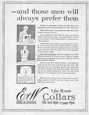 1916 Earl & Wilson E&W Highwood Tab Collar Men s Fashion Clothing Print Ad