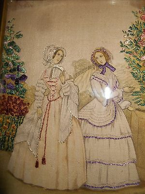 Rare Antique  Hand Embroidered Framed Crinoline Women  Picture Beautifil