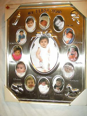My First Year Memories Photo Frame Decorative Picture Baby Memory Silver New