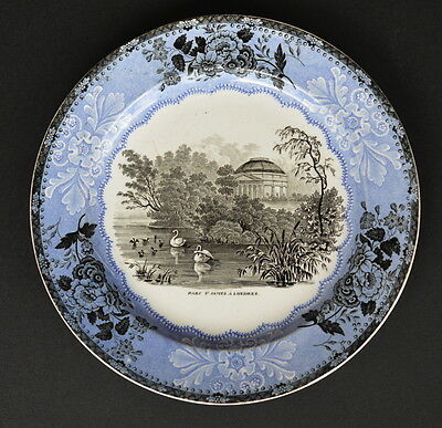 Rare Early Villeroy & Boch Two Tone Transfer Plate St James Park London
